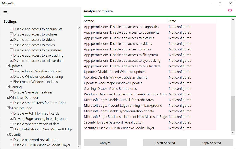 Cómo mejorar la privacidad de Windows 10 con Privatezilla 36