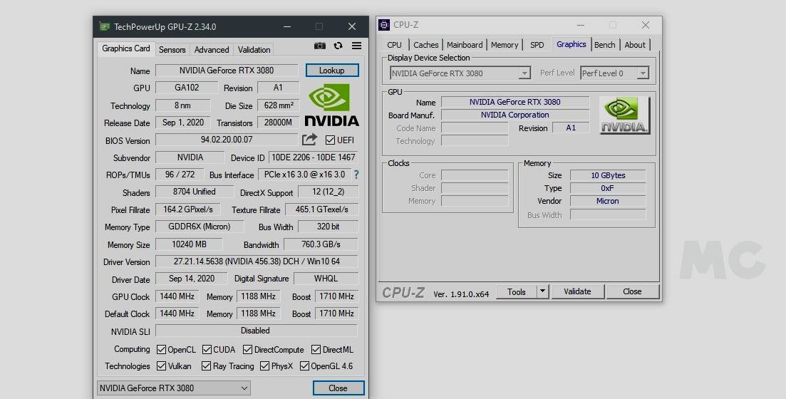 RTX 3080 GPU Z MC