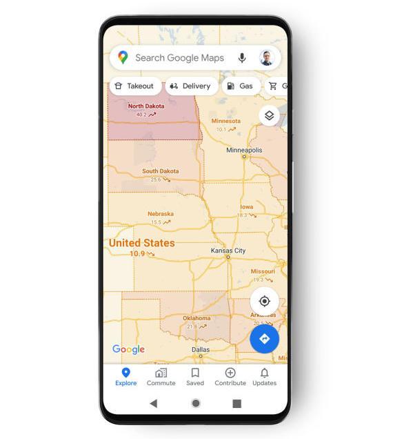 capa COVID de Google Maps