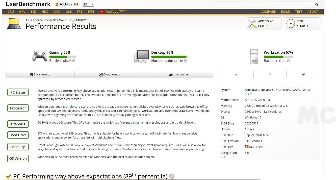 ASUS ROG Zephyrus G14 ACRNM, análisis: juega, y trabaja, con estilo 73