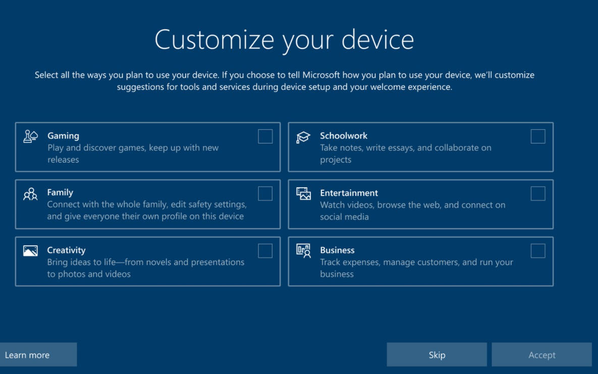 configuración inicial de Windows 10