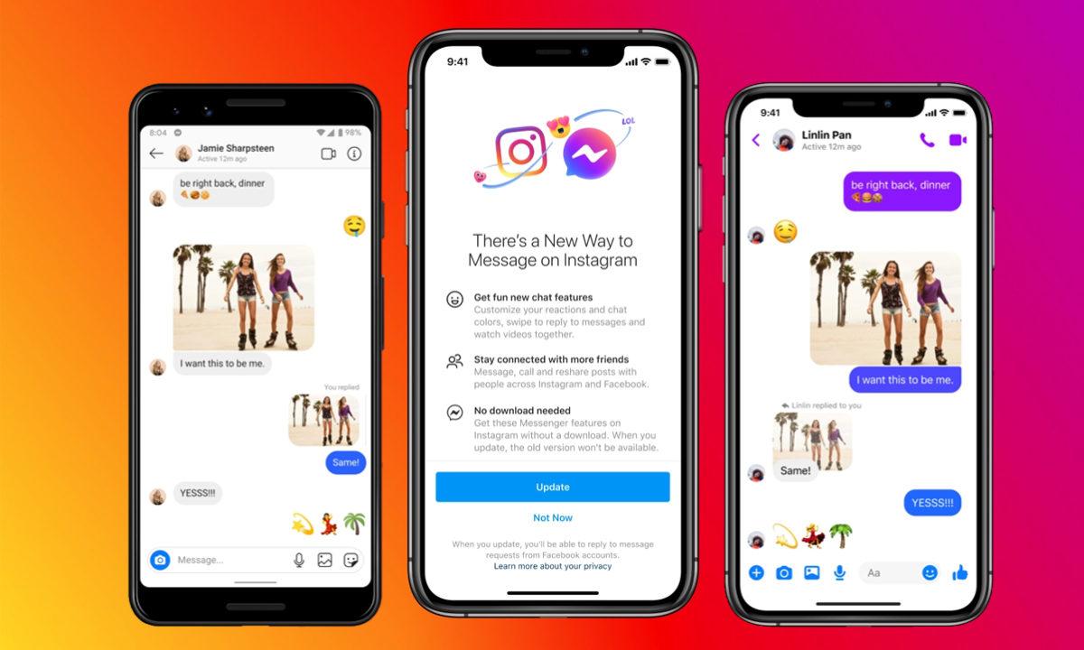Instagram mensajes chats Facebook Messenger