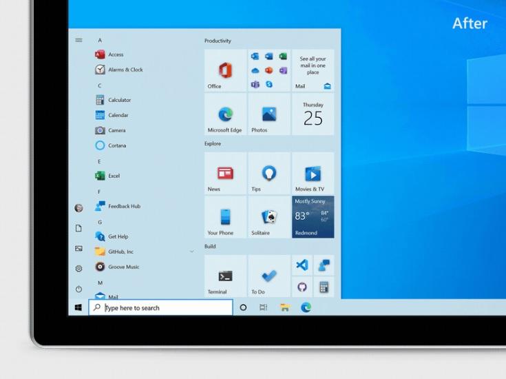 Nuevo menú de inicio de Windows 10 October 2020 Update