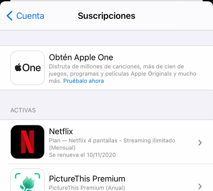 Suscripción a Apple One