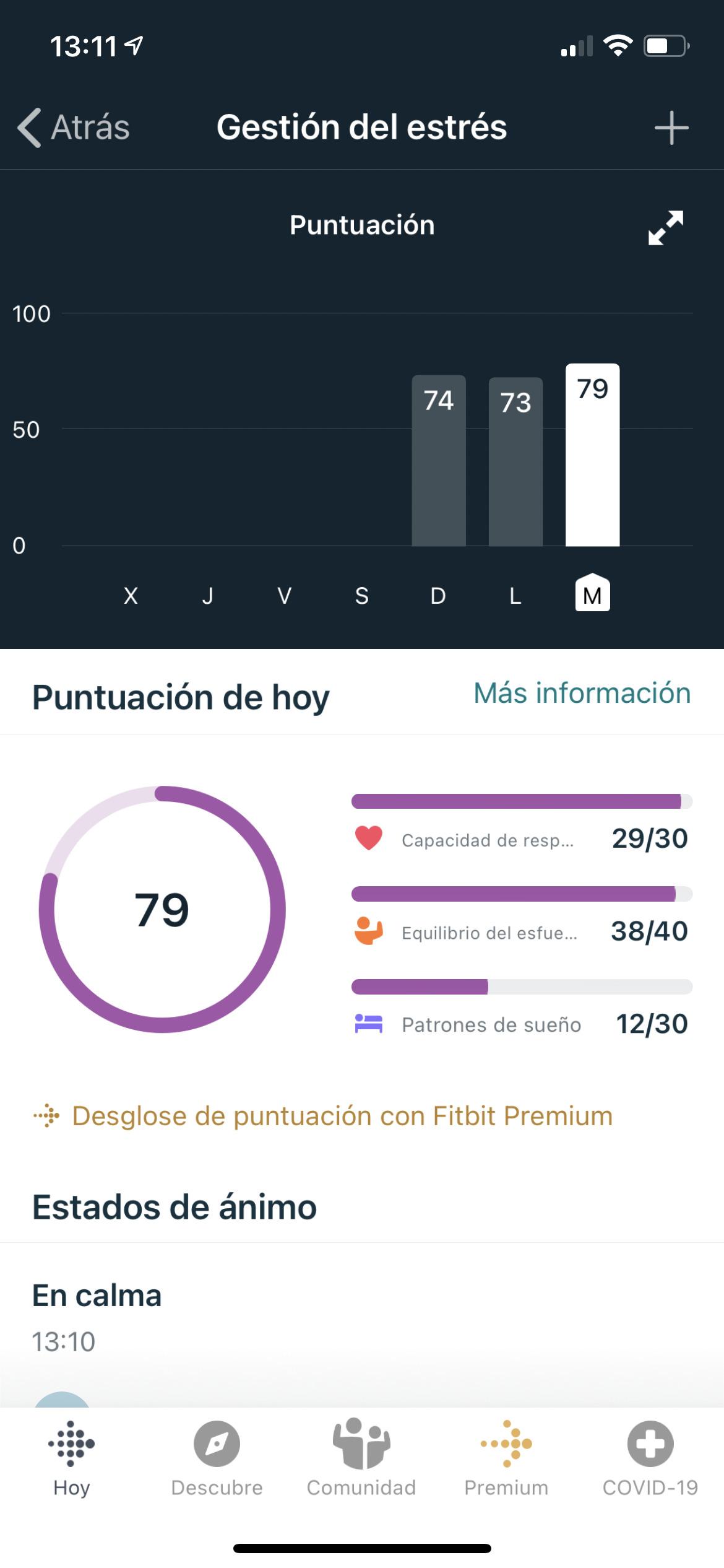 Fitbit Sense, medición del estrés