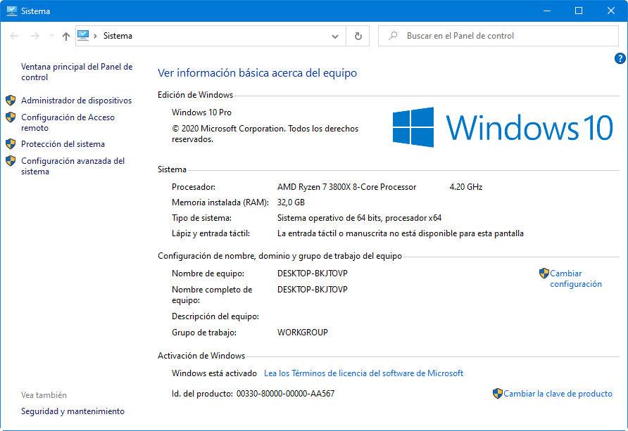 aplicación de sistema de Windows 10