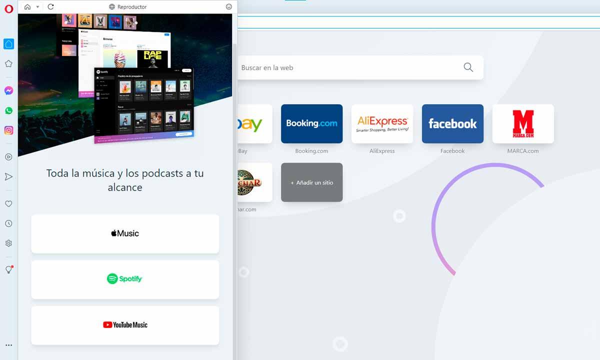 Opera añade Spotify, YouTube y Apple Music en su sidebar