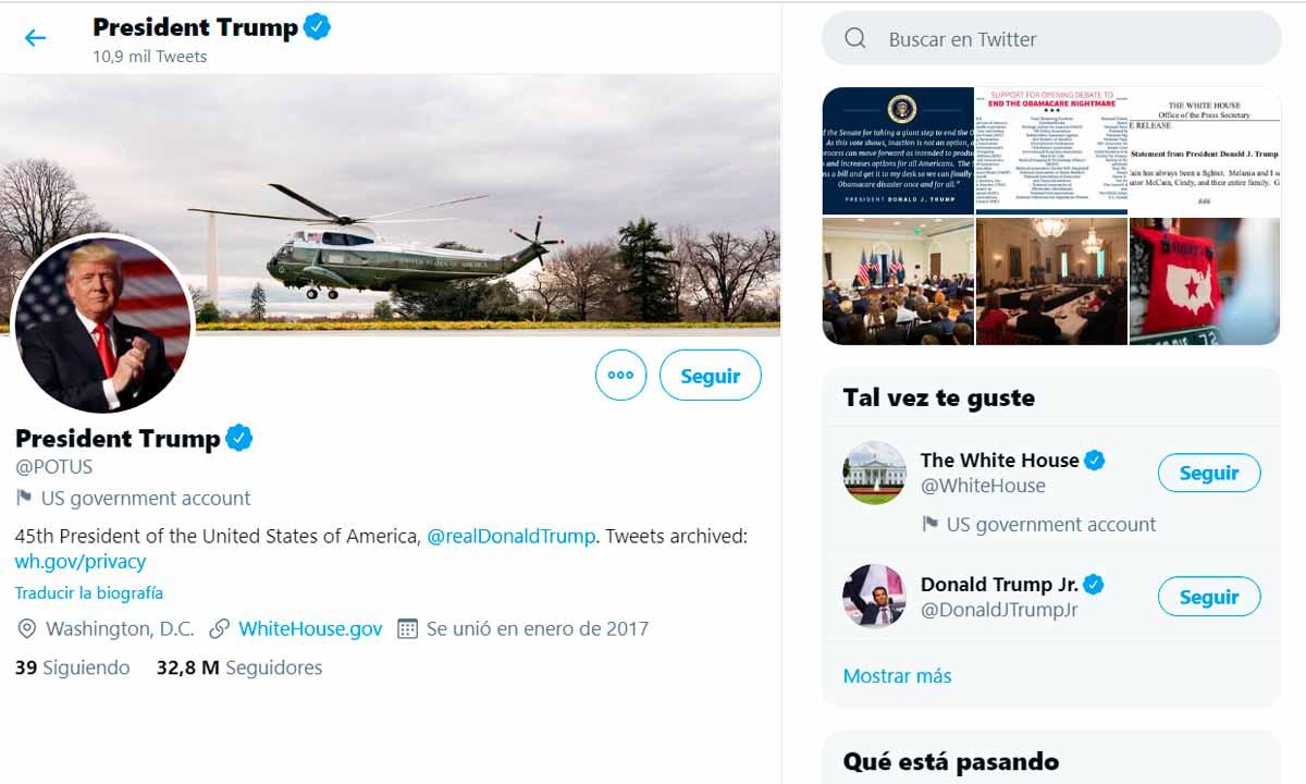 Twitter transferirá la cuenta @POTUS a Joe Biden el 20 enero