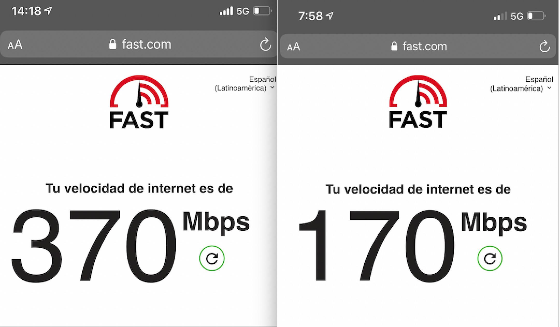 Prueba de velocidad 5G de iPhone 12 mini
