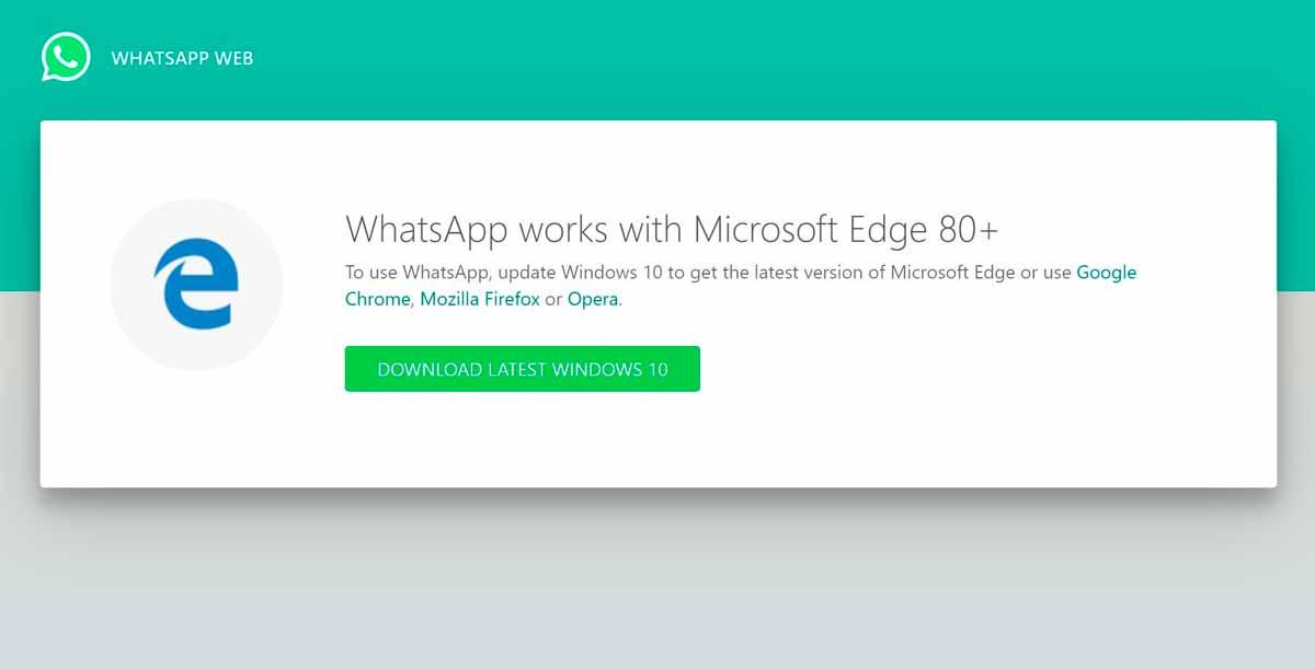 Whatsapp web deja de funcionar en Microsoft Edge legacy