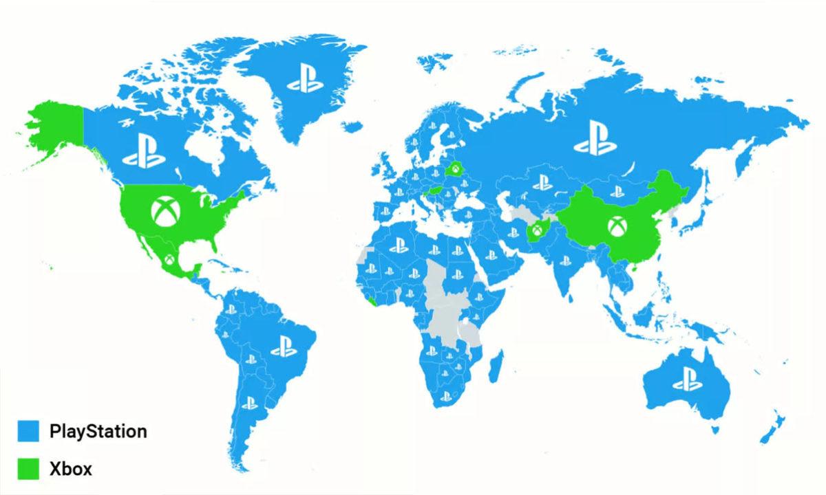 Mapa ventas PS5 y Xbox Series X