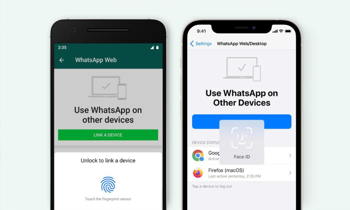 WhatsApp Web desbloqueo huella facial