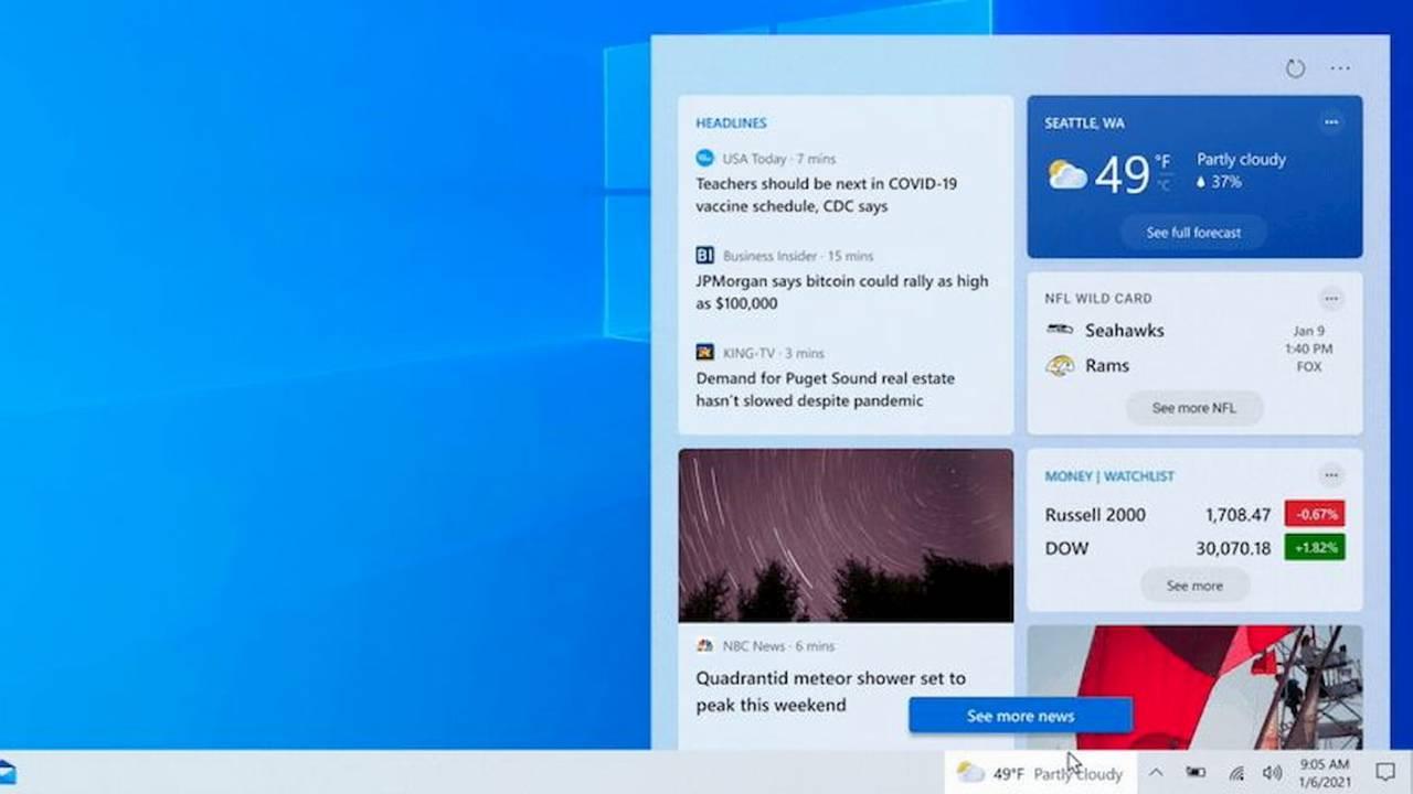 Nuevo feed de noticias en Windows 10.
