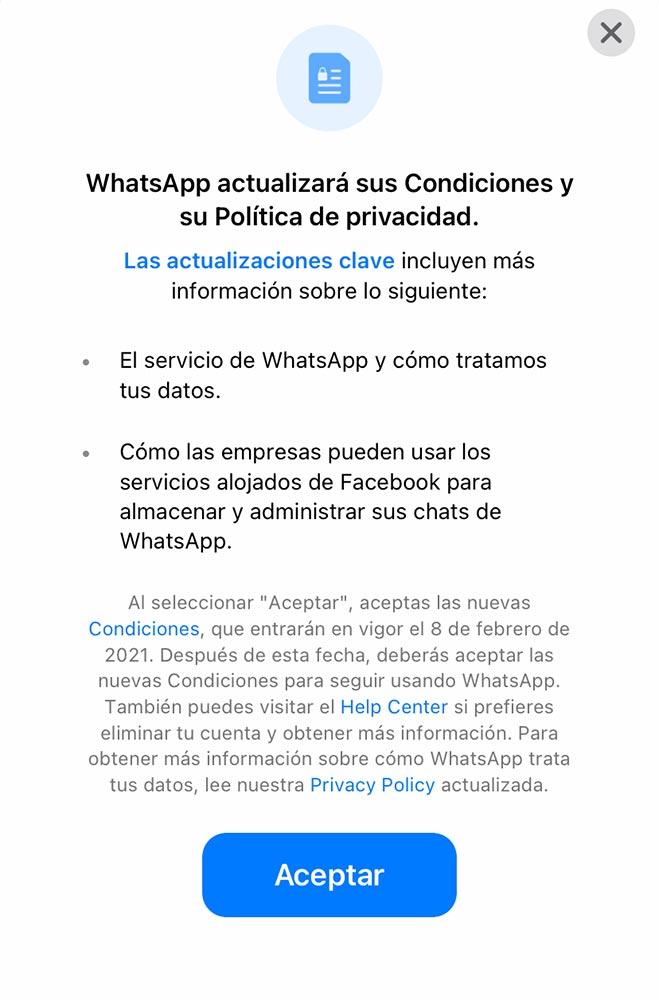 Aviso de cambio de las políticas de Whatsapp en España