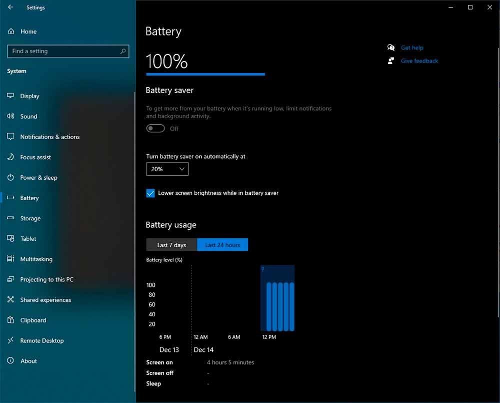 Aspecto del apartado de batería en Windows 10 21H2. Imagen: Albacore
