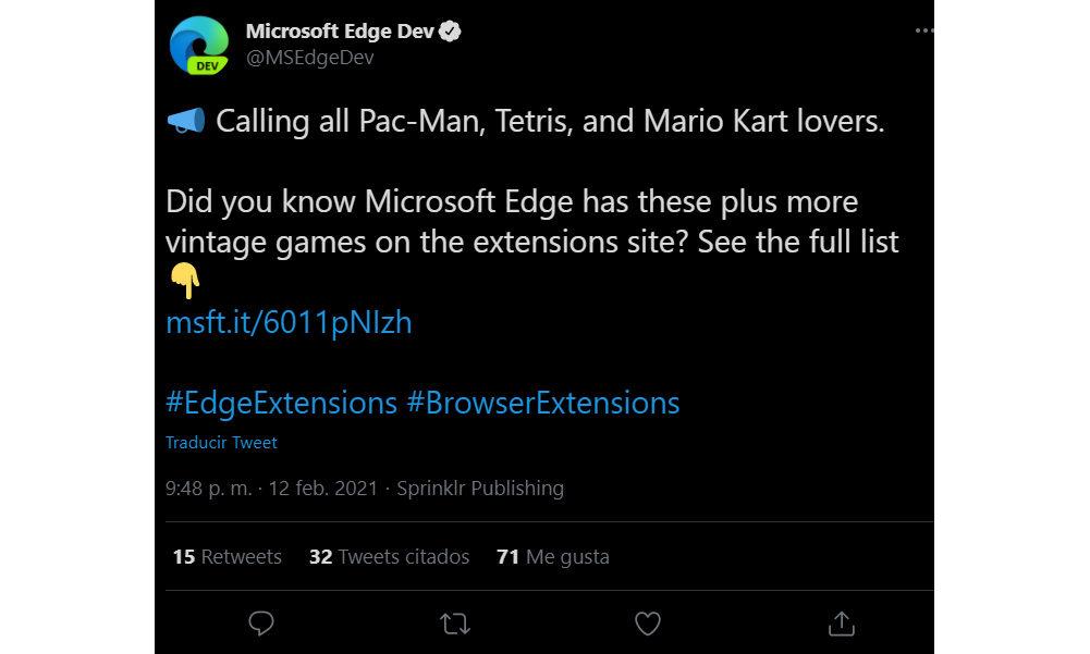 Microsoft Edge Dev extensiones juegos piratas