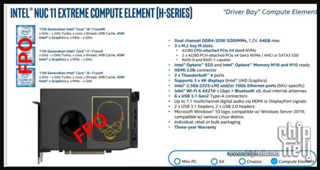 Intel NUC 11 Compute Element