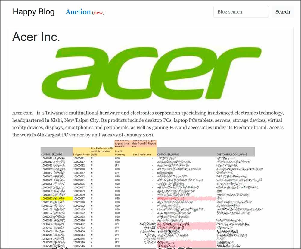 Archivos de Acer exfilrados por REvil