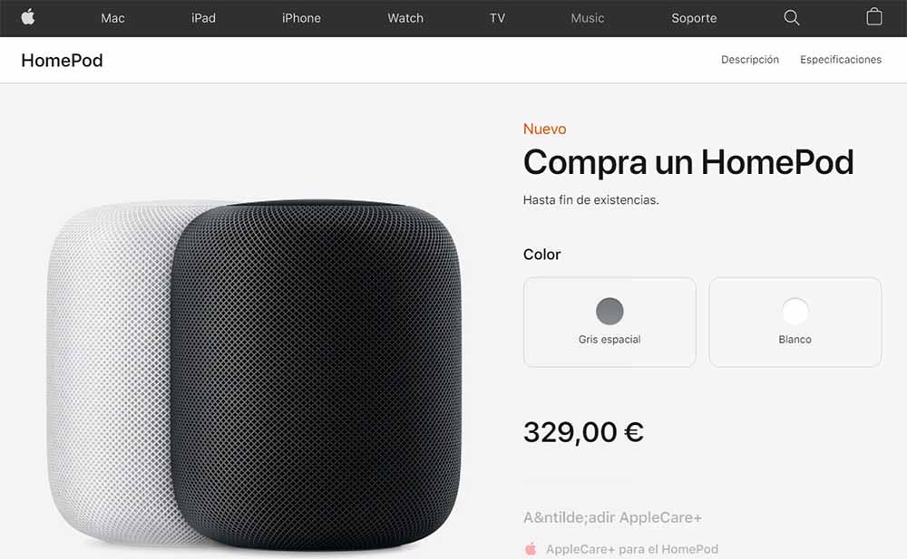 HomePod en liquidación en la tienda online de Apple