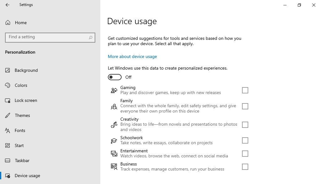 Windows 10 - Uso del dispositivo