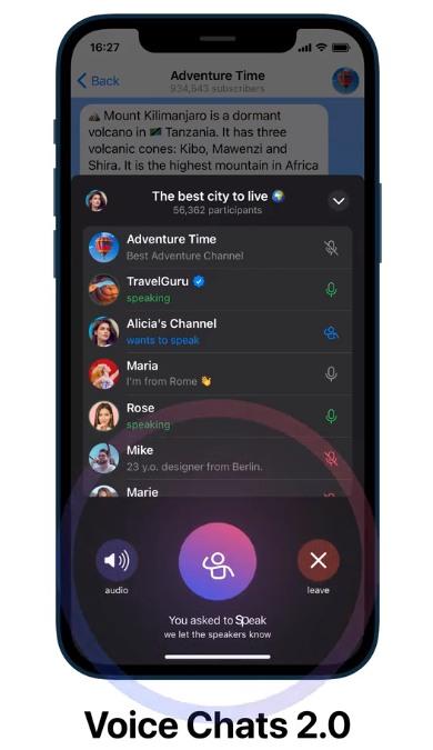 telegram - chats de voz