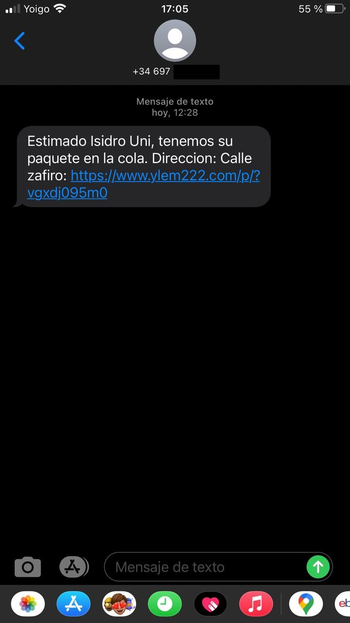 estafa SMS falsos