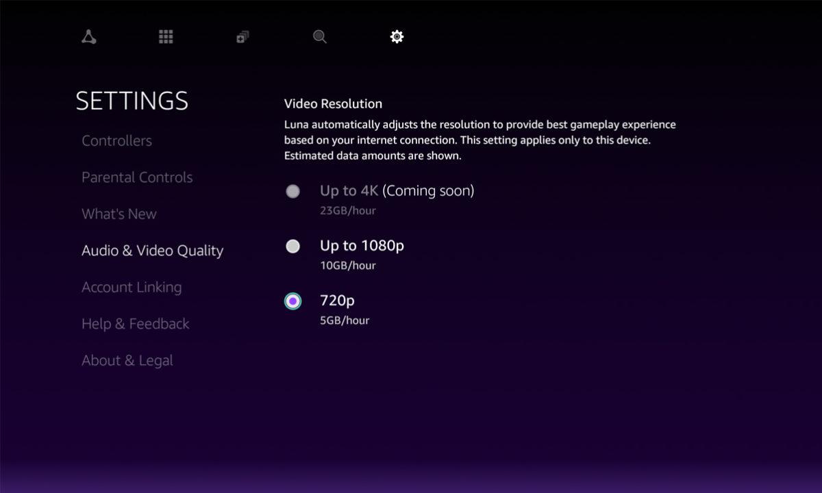 Amazon Luna streaming juegos 720p