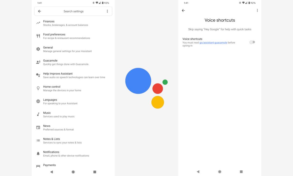 Google Assistant Guacamole atajos voz