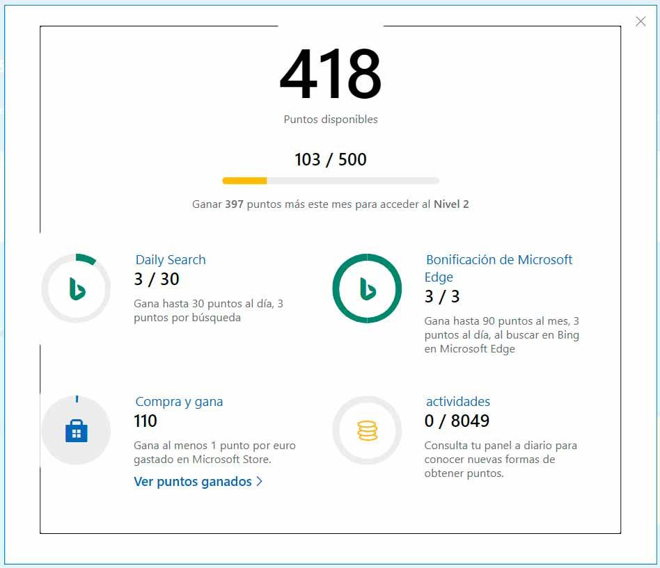 Microsoft Rewards: puntos por emplear Microsoft Search