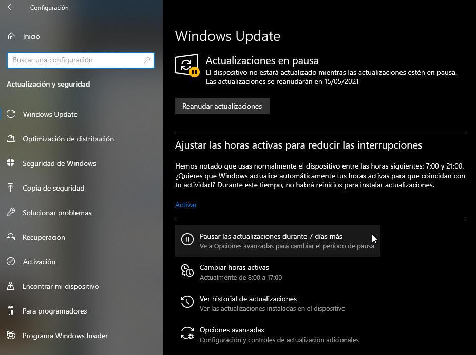 actualizaciones de Windows 10