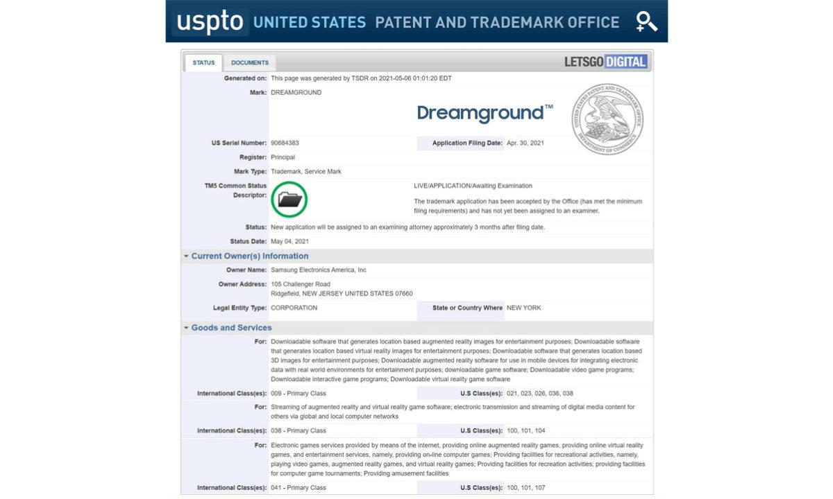 Samsung Dreamground juegos AR patente