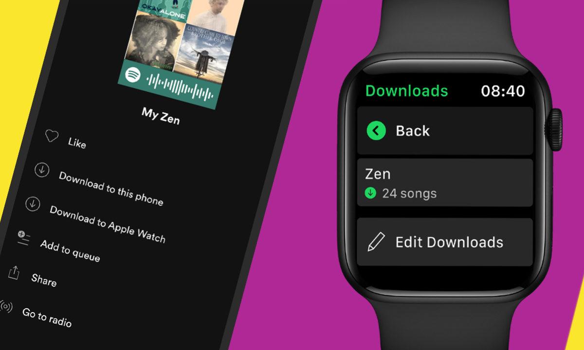 Spotify descargar canciones Apple Watch