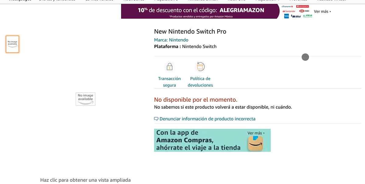 Amazon México confirma accidentalmente la Nintendo Switch Pro