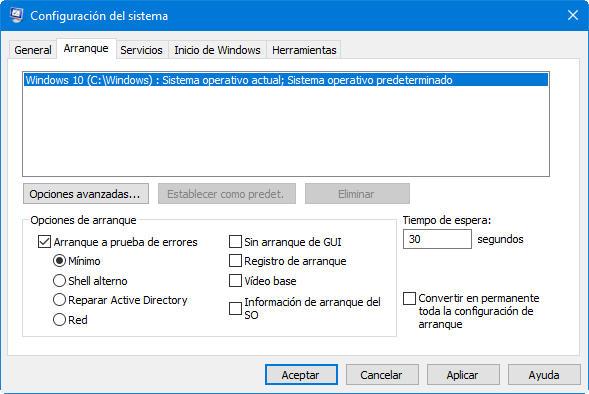 modo seguro de Windows 10