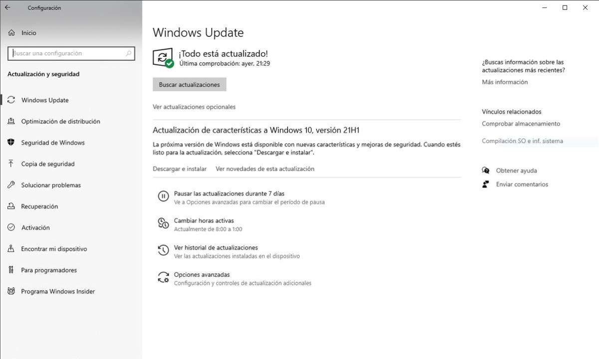 Windows 10 21H1 actualización