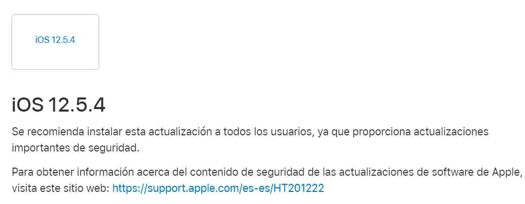 iOS 12.5.4, la actualización para tu iPhone que no te puedes saltar
