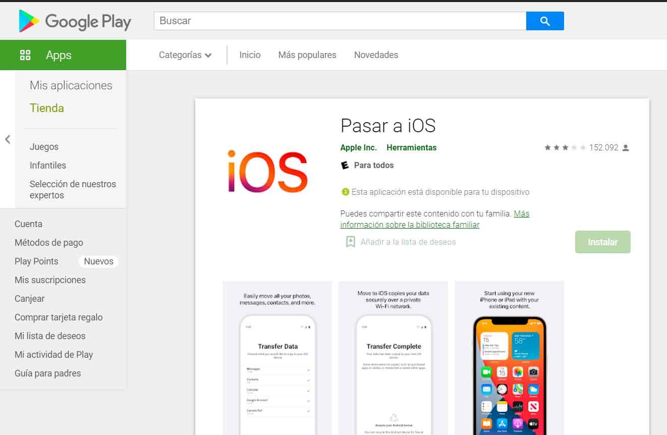 Pasar a Android, la respuesta de Google a Pasar a iOS de Apple
