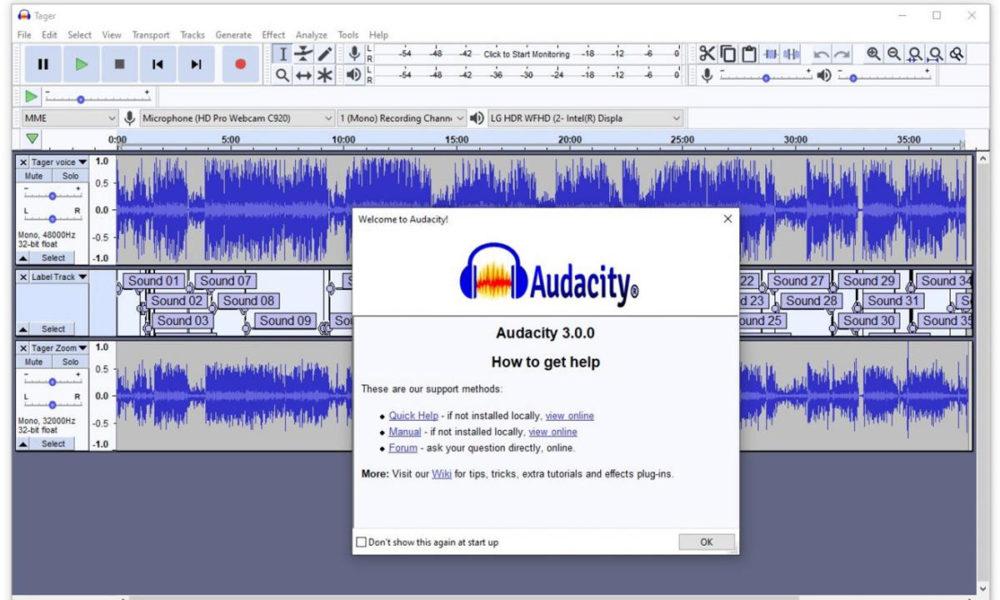 Audacity, software espía