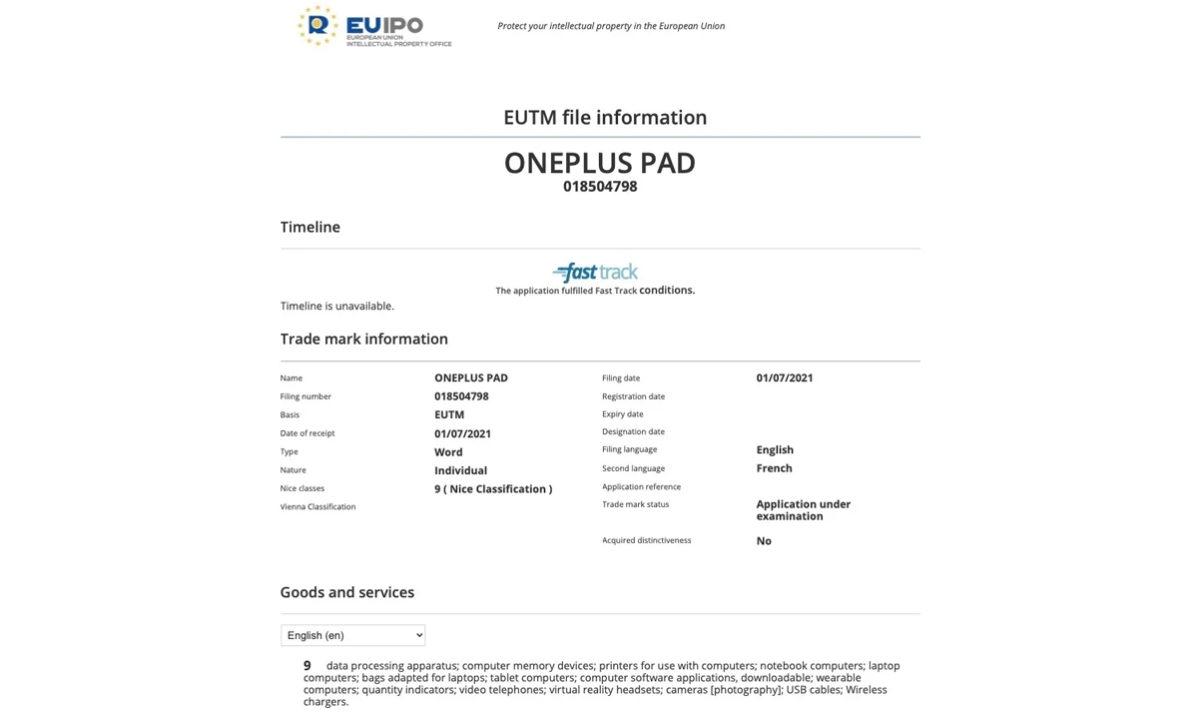 OnePlus Pad EUIPO Trademark