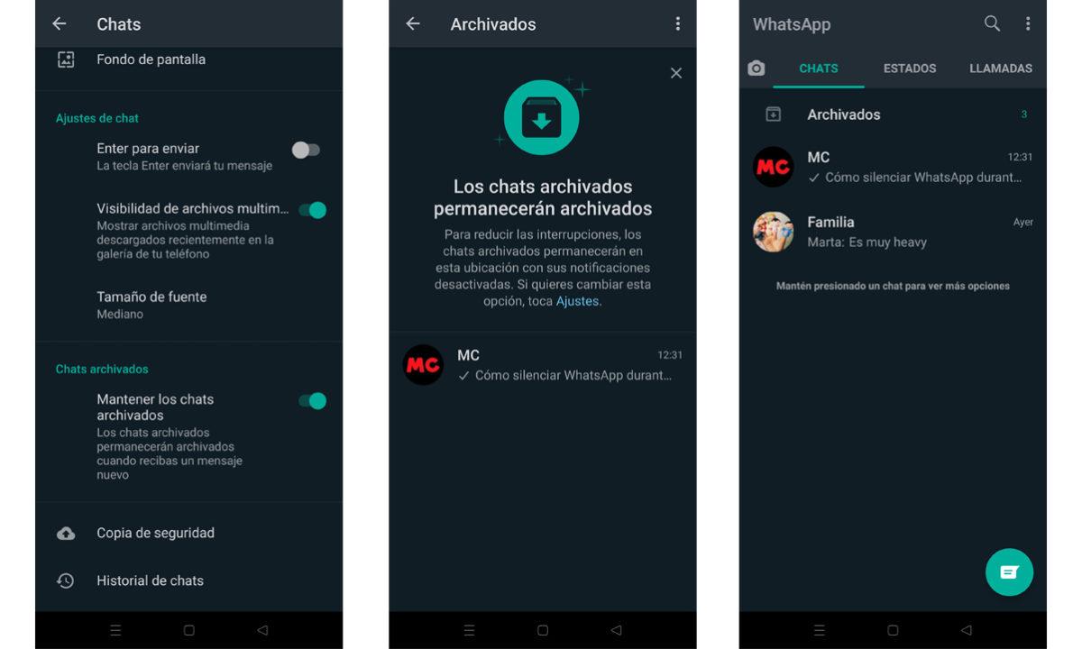 Cómo archivar conversaciones WhatsApp