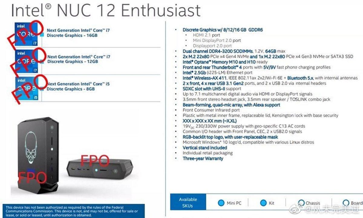 Intel Nuc 12 Enthusiast Specs