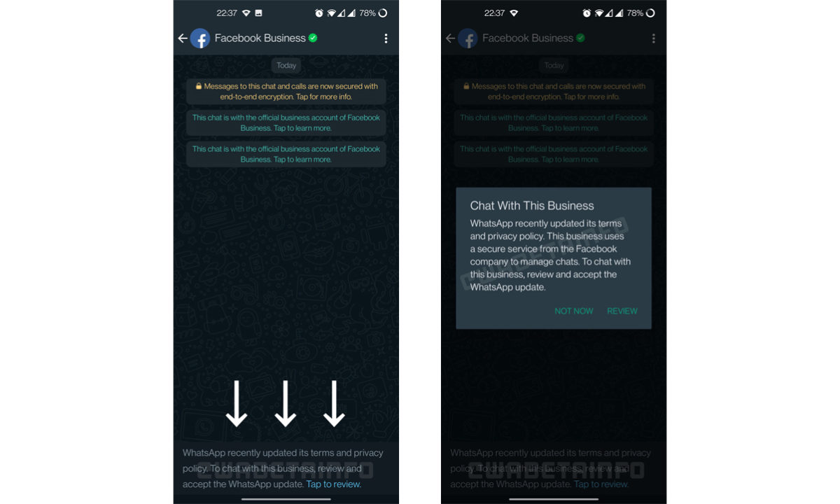Terminos de servicio WhatsApp Business