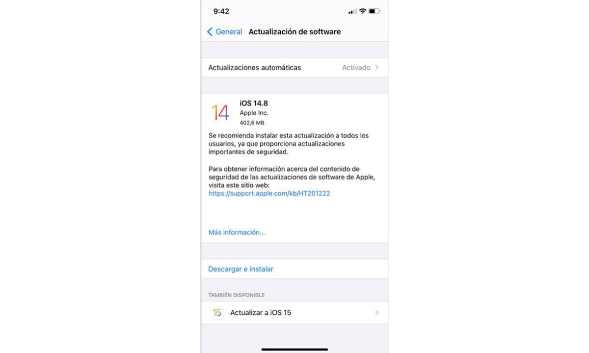 Cómo actualizar iOS 15 iPhone